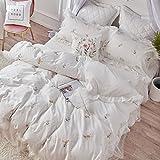 Bettwäsche-Sets Vier stücke des Amerikanischen 60 stück Baumwolle Satin Stickerei Quilt Decken Einfache Baumwollrock-A 220x240cm(87x94inch)