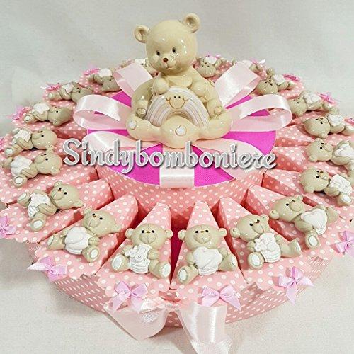 Calamite orsetti per bomboniere nascita,battesimo femminuccia torta di bomboniera sb *