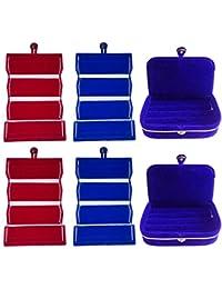 Afrose Combo 2 Pc Red Earring Folder 2 Pc Blue Ear Ring Folder 2 Pc Blue Ring Jewelry Vanity Box