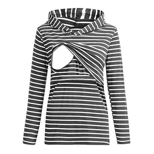 Ashui Damen Kapuzenpullover Pflege Hoodie Stillen Geschichteten Top Pocket Schwangerschaftskleider Umstandsmode Streifen Umstandskleid Umstandsshirt Lange äRmel Schwangerschaft Umstandsmode
