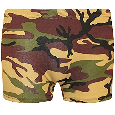 KIDS MICROFIBER HOT PANTS GIRLS KNICKERS LYCRA DANCE SHORTS GYM NEON PARTY DRESS COSTUME 5-12 YEARS OF AGE[Camouflage ,9-10