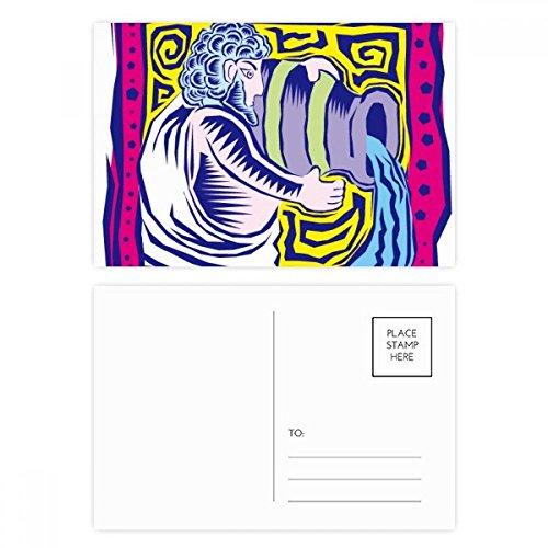 DIYthinker Konstellation Wassermann Mexicon Kultur Gravieren Postkartenset Geburtstag dankt Karte Mailing Side 20pcs 5.7 Zoll x 3.8 Zoll Mehrfarbig - Wassermann Geburtstag Karte