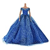 1pcs Fashion Dolls Wedding Trailing Skirt Dress Dolls clothes Blue