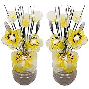 Flourish Kunstblumen im Topf Dekoration Wohnung Modern Deko Wohnzimmer, Geschenk, Paar, 32cm, Gelb Silber