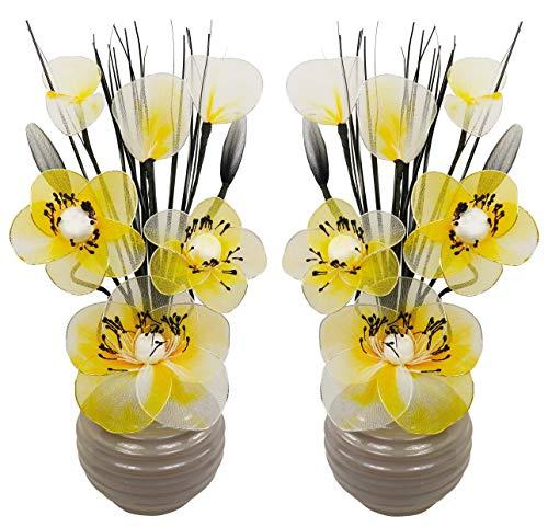 A juego Par amarillo flores artificiales jarrón gris