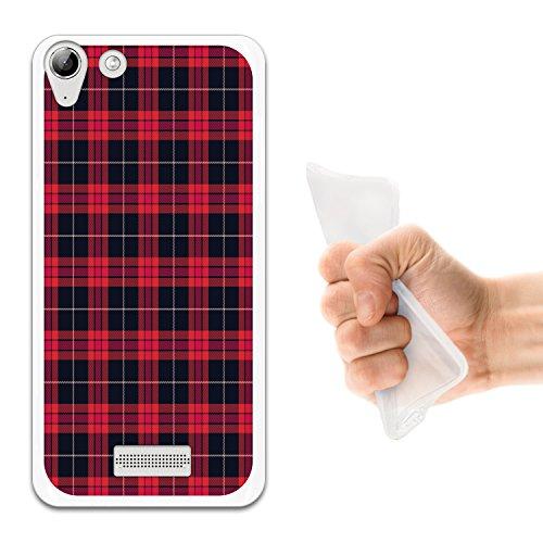 WoowCase Wiko Selfy 4G Hülle, Handyhülle Silikon für [ Wiko Selfy 4G ] Rote Schottenkaro Quadrate Handytasche Handy Cover Case Schutzhülle Flexible TPU - Transparent