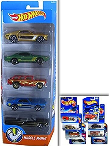 Hot Wheels Muscle Mania Bundle- 5 Pack: '64 Chevy Impala, '67 Pontiac Firebird 400, '69 Ford Mustang, '74 Dodge Charger, '55 Chevy Nomad & 1 Hotwheels Die Cast Metal Car (Assortments May Vary)