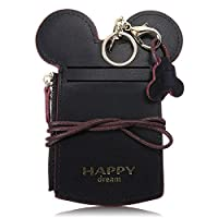 Kyerivs Cute Neck Wallet, Credit Card Holder, Zipper Pouch for Kids and Women (Small, Black)