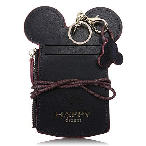 Kyerivs Niedlich Brustbeutel, Kreditkartenetui mit Münzfach, Kreditkartenhüllen, Kleingeldfach, Kleine Geldbörse für Mädchen und Damen (schwarz) (Disney-management)
