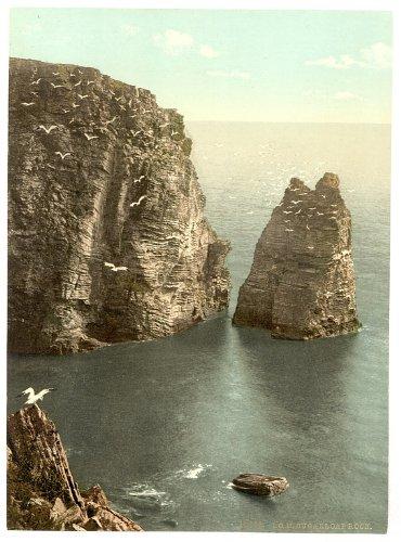 Viktorianische Ansicht von Zucker Brot Rock, Port St. Mary, Isle of Man, England, groß, A3Größe 41von 28cm auf Leinwand; texturiertes Papier, Fotodruck England Brot