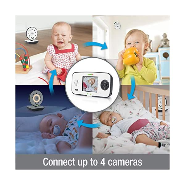 NUK 550VD Video Baby Monitor with LCD Screen, Night Vision, Temp. Sensor, 2-Way Talk & Lullabies NUK 100% free from high frequency radiation in baby's room in eco-mode 2in1: can be used for video/audio or only audio surveillance Integrated camera with night vision and zoom 3