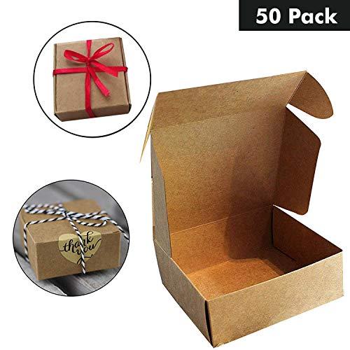 d85102115 Kraft Paper Gift Boxes (50 Pack) - 13x12x5cm Brown Kraft Favour Gift Self  Assemble