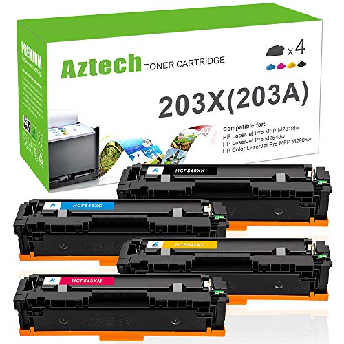 Aztech 4 Pack Kompatibel für HP 203X CF540X-CF543X 203A CF540A HP203A HP203X Toner für HP Color Laserjet Pro M281fdw MFP M281 fdw MFP M281fdn M280nw M280 M254dw M254nw M254, für CF541X CF542X CF543X -