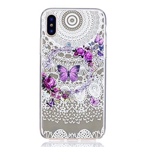 Per iPhone X Cover , YIGA bianco fiore Cristallo Trasparente Silicone Morbido TPU Case Caso Shell Protezione Copertura Custodia Copertina per Apple iPhone X (5,8 pollici) FD4