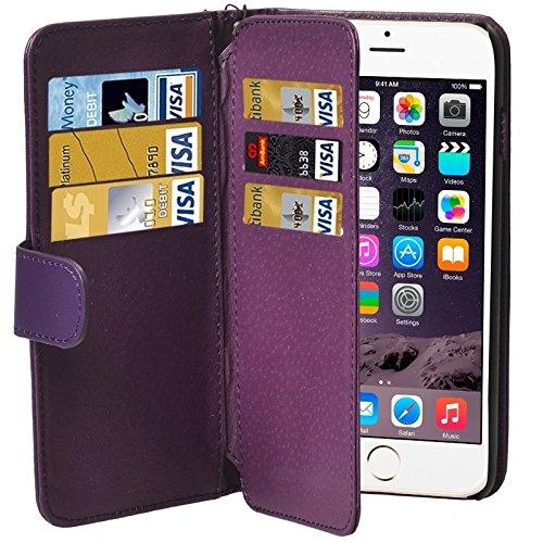 Wkae Case Cover Mappen-Art-Six-Karten-Slots PU Ledertasche mit Lanyard für iPhone 6 Plus & 6S plus ( Color : White ) Purple