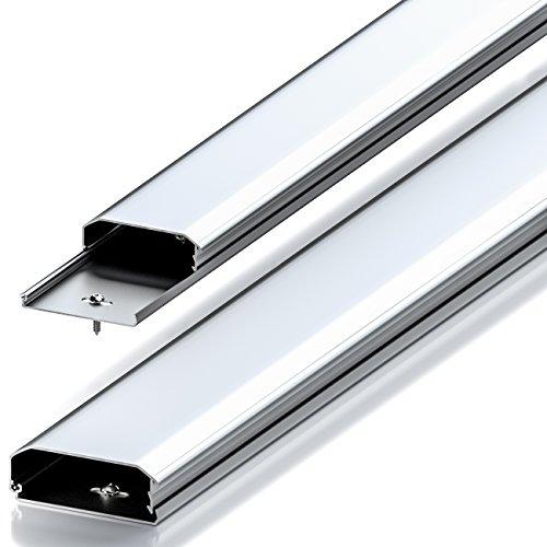 deleyCON Universal Kabelkanal Leitungskanal innovativer Klappmechanismus hochwertiges Aluminium Länge 100cm , Breite 6cm , Höhe 2cm - Silber