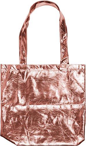 styleBREAKER borsa da shopping in stile metallico con chiusura a clip, borsa da trasporto, borsa da shopping, borsa, unisex 02012108, colore:Oro metallizzato Oro Rosa metallizzato