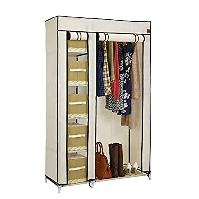 VonHaus Double Canvas Effect Wardrobe Clothes Cupboard Hanging Rail Storage - 6 Shelves - Beige - 110 x 175 x 45cm - low-cost UK wordrobe store.