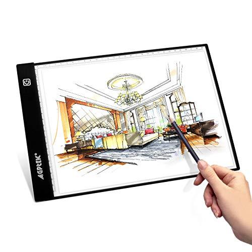 LED Künstler Beleuchtetes Zeichenbrett, A4 Größe Leuchtpad, Stufenlose Helligkeitsregelung mit Speicherfunktion USB betriebenes Zeichen-Pad für Animation, Skizzierung, Design, Schablonenerstellung