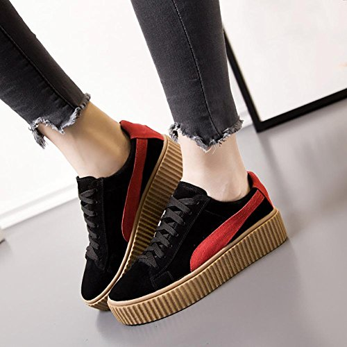 SONGYUNYANCoupe-bas dentelle féminine extérieur cuir casual chaussures Baskets Mode Black