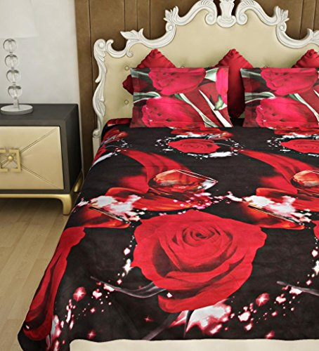 Home Candy Elegant 120 TC Polycotton Double Bedsheet with 2 Pillow Covers - Floral, Multicolour