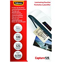 Fellowes 5397402 - Pack de 100 fundas de plastificar formato 60 x 90 mm, 125 micras