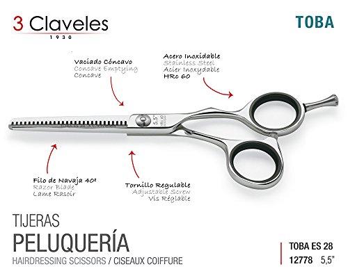 """3 Claveles Forbici Professionali in Acciaio Inox, Cisellato a Caldo Serie Misura cm """" 5.5'' Toba Es 28"""