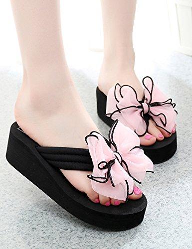 Sommer Seaside Bogen Slips Weibliche Piste mit High Heel Hausschuhe Casual dicken Sand Strand coole Pantoffeln ( Farbe : 3 , größe : EU40/UK7/CN41 ) 4