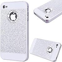 GrandEver Custodia Rigida per iPhone 4 iPhone 4S, UltraSlim Dura PC Protettiva Cover Bumper, Glitter Bling Hard Protettivo Durable Case con Diamanti Back Case Copertura - Argento