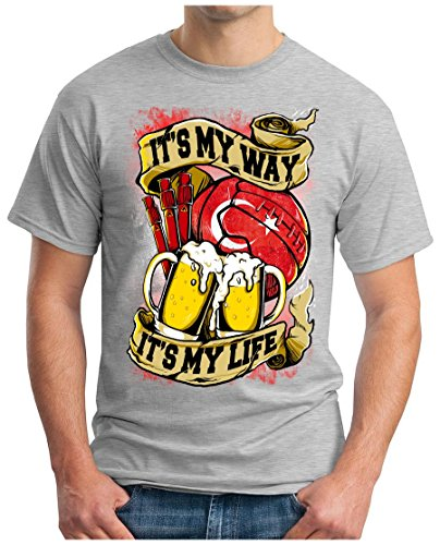 OM3 - TURKEY-MY-WAY - T-Shirt TÜRKIYE MY LIFE EM 2016 FRANCE BIER BEER FANSHIRT SOCCER DRINK SPORT GEEK SWAG, S - 5XL Grau Meliert