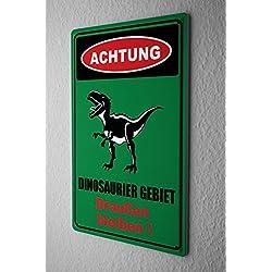 Cartel de chapa Placa metal tin sign Advertencia área dinosaurio permanecer fuera de la puerta vivero cómico dibujos animados sátira 20x30 cm