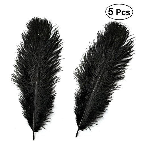 BESTOYARD 5 stücke 30-35 cm Künstliche Straußenfedern Dekoration Federn für Urlaubsparty Kleid Hause (Schwarz) (Schwarze Kleid Straußenfedern)