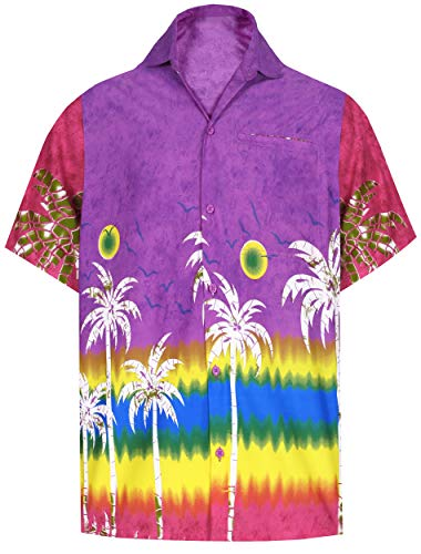 LA LEELA Herren Hemd Casual Button-Down Short Sleeve Beach Shirt Aloha Pocket 211 - Violett - L|Brust 112 cm /122 cm -