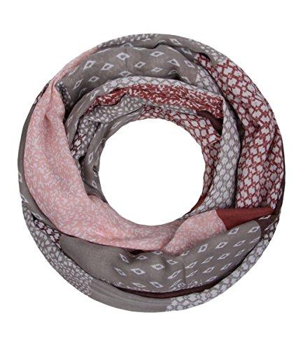 Majea NEUE Saison Damen Loop Schal viele Farben Muster Schlauchschal Halstuch in aktuellen Trendfarben (alt rosa 6) (Halstuch Damen)