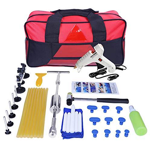 CONRAL Car Body Dent Paintless Remover Reparatursatz, Vollsatz Dent Puller Kit für Heimwerker, Bridge Dent Puller Kits, mit 12V Schmelzklebepistole für Zigarettenanzünder und Klebestiften -