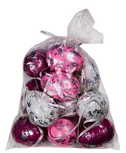 Ostereier mit Band Silber Weiß Rosa Pink (12) (Bunte Eier)
