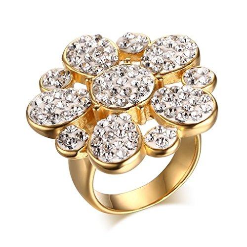 Anazoz Anello Donna Acciaio Inossidabile Argento Romantique Amour Fleur Design