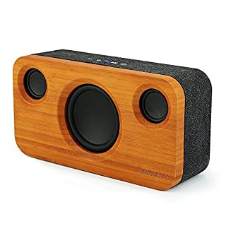Archeer A320S bluetooth Speakers Wireless Stereo Pairing Loud Speaker with Booming Bass, Built-in Mic, 20 Hours Playtime, Wood Bookshelf Speakers for Home Party Theater