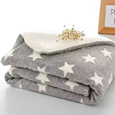 BRANDONN Newborn Grey Star Polka Wrapping Sheet/ Baby Blanket for Babies 75x98cm (Grey, 30X40 GREY_STAR)