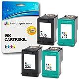 Printing Pleasure 4 Compatibles HP 336 & HP 342 Cartuchos de Tinta para DeskJet 5420 5432 5442 6310 D4160 Officejet 6310 6315 Photosmart 2570 2575 2710 C3100 C3180 C4180 - Negro/Color, Alta Capacidad