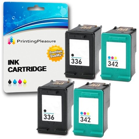 Printing Pleasure 4 Druckerpatronen für HP Photosmart 2570 2575 2710 8150 C3100 C3180 C4180 D5160 DeskJet 5440 5442 6310 D4160 Officejet 6310 6315 | kompatibel zu HP 336 (C9362EE) & HP 342 (C9361EE)