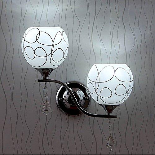 Lampe murale moderne élégant Applique murale Verre créatifs (2 ampoules) cristal Éclairage décoratif pour Hote Tête Café Loft Bar Restaurant éclairage mural E27 (sans ampoule)