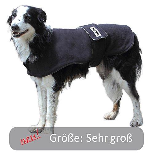 vindra Hunde-Bademantel - Fleece schnelltrocknend - Hundemantel - 4 Größen - Hals und Brust verstellbar (Sehr groß)