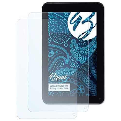 Bruni Schutzfolie kompatibel mit Captiva Pad 7 LTE Folie, glasklare Bildschirmschutzfolie (2X)