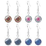 JIAYIQI Boucles d'oreilles De Yoga Bijoux 4 Paires De Pierres Précieuses Mandala Design Pendre Boucles d'oreilles Crochet