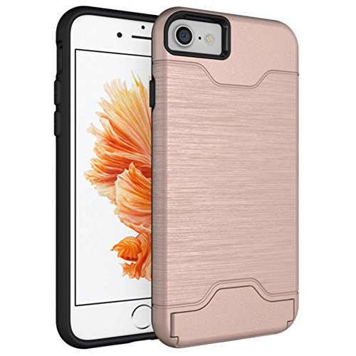 GHC Cases & Covers, für iPhone 7, Dual Layer Brushed Matte PC Rüstung + Robustes TPU Doppelter Schutz Slim Case Cover [Klappbarer Ständer] [Kartensteckplatz] -
