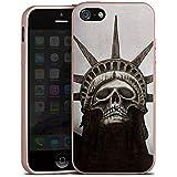 Apple iPhone SE Hülle Silikon Case Schutz Cover Freiheitsstatue Skull Totenkopf