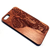 Wood Case for iPhone 5s BTHEONE. Real Wooden Overlay on Slim Black PC. Natural Genuine Wooden Cover for the Apple Cell iPhone 5/5S/SE (Cherry-Elephant)