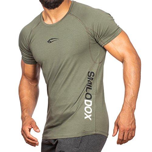 SMILODOX Slim Fit T-Shirt Herren | Kurzarm Funktionsshirt für Sport Fitness Gym & Training | Trainingsshirt - Laufshirt - Rundhals Sportshirt mit Aufdruck, Farbe:Dunkel Grün, Größe:L (T-shirt Vor Dunklen)