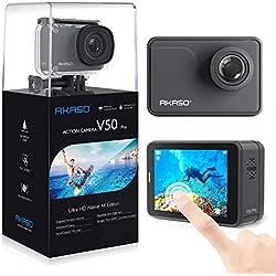 AKASO Caméra Sport Etanche 4K Wifi 20MP Action Cam 30fps Ultra HD EIS Écran LCD Tactile Soutien Micro Grand Angle 170 Degré 30M Sous Marine 2 Batteries 1050mAh Télécommande Kit d'Accessoires - Gris